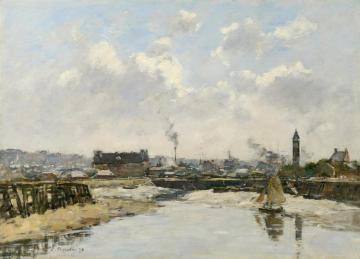 Trouville, The Port, Low Tide, Morning Artwork by Eugène-Louis Boudin