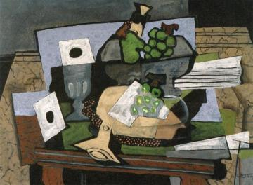 Still Life With Grapes And Clarinet Artwork by Georges Braque
