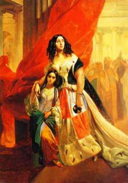 Portrait of Countess Yu. P. Samoilova and Her Ward Amacilia Pacini Leaving a Ball Artwork by Karl Pavlovich Bryullov