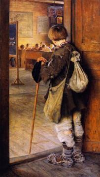At The School Door Artwork by Nikolai Petrovich Bogdanov-belsky