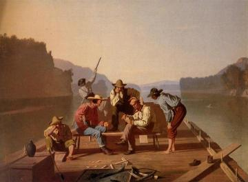 Raftsmen Playing Cards Artwork by George Caleb Bingham