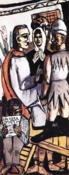 The Actors (Triptych - Left Panel) Artwork by Max Beckmann