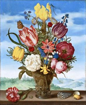 Bouquet Of Flowers On A Ledge Artwork by Ambrosius Bosschaert