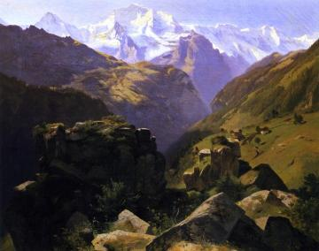 A View of the Jungfrau Massif seen from Above, Interlaken Artwork by Alexandre Calame