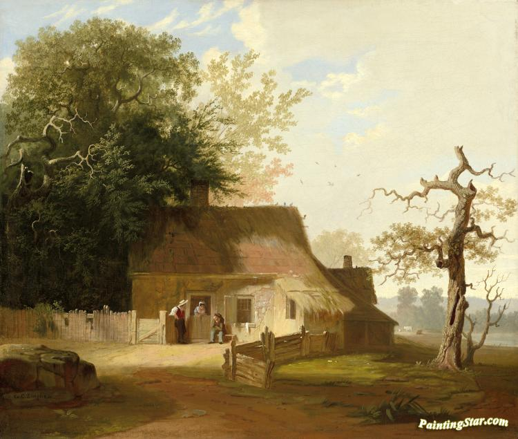Cottage Scene Artwork by George Caleb Bingham