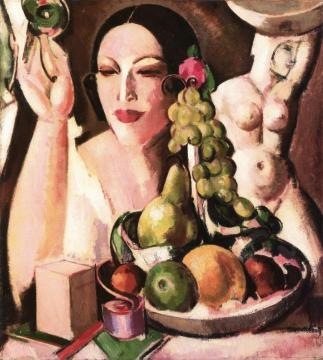 The Pink Box, a Portrait of Margaret Morris Artwork by John Duncan Fergusson