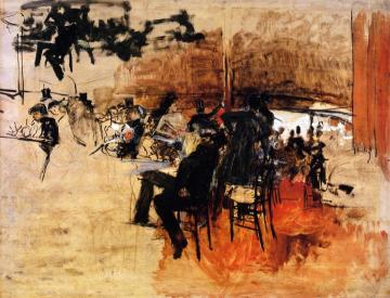 "Café Scene (study For ""the Red Cafe"") Artwork by Giovanni Boldini"