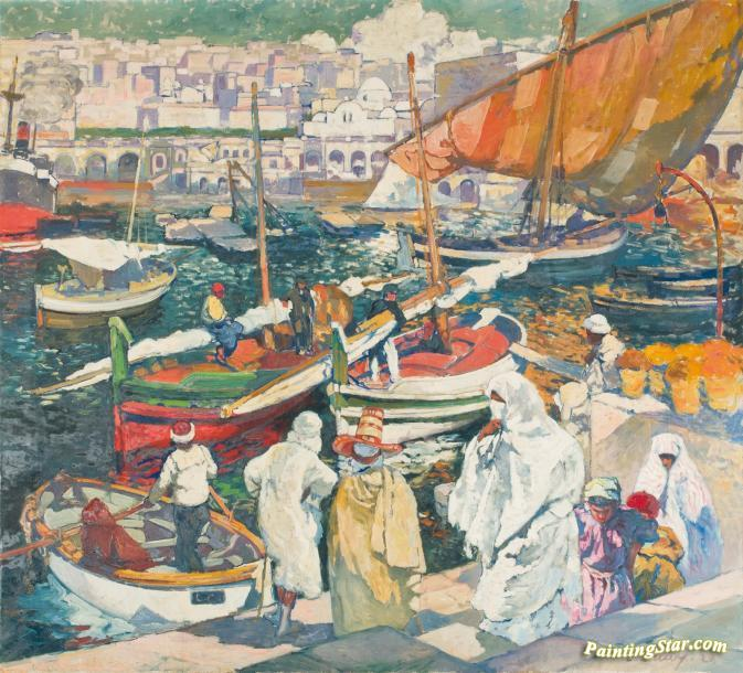 Fisherman at the So-Called Dock of the Admiralty, Algiers, Art Painting by  Léon Cauvy