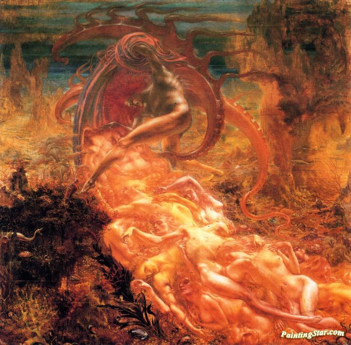 Satan S Treasures Artwork By Jean Delville Oil Painting