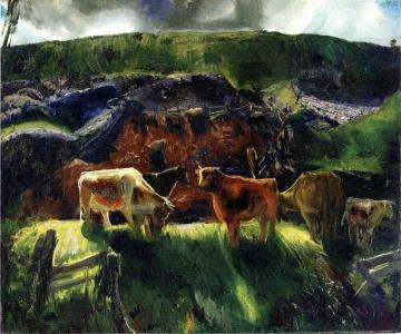 Cattle and Pig Pen Artwork by George Wesley Bellows