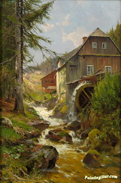 Watermill On The Mountain Stream Artwork By Walter Moras