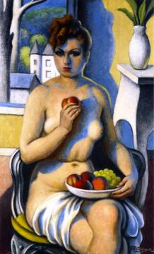 Seated Nude with Peaches and Clusters of Grapes Artwork by Jean Metzinger