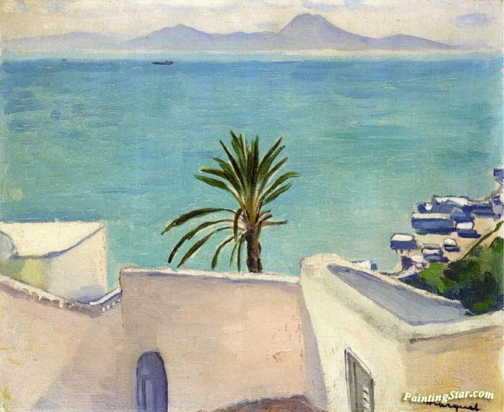 sidi bou said palm tree artwork by albert marquet oil painting