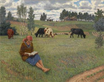Girl Reading in a Meadow Artwork by Nikolai Petrovich Bogdanov-belsky