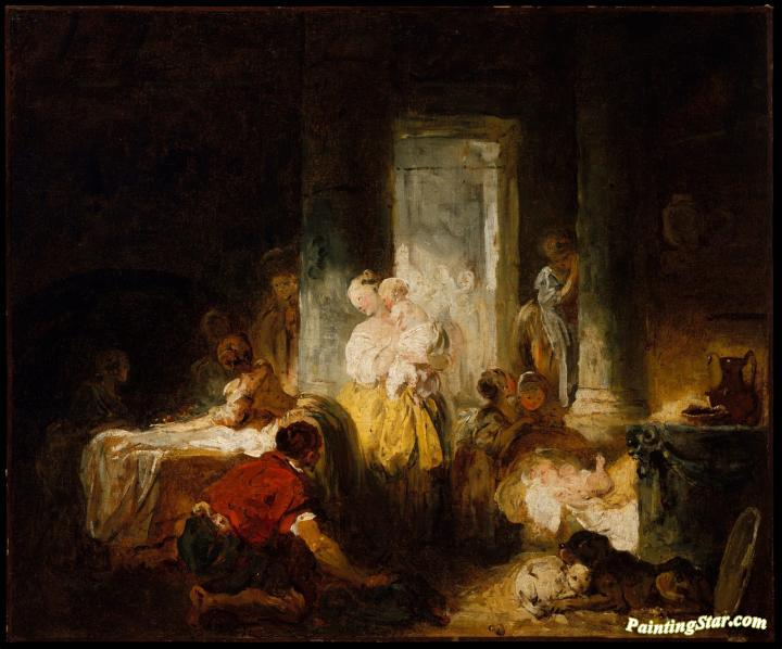the happy mother artwork by jean honore fragonard oil. Black Bedroom Furniture Sets. Home Design Ideas