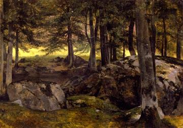 Beech Grove, Rocky Foreground Artwork by Alexandre Calame
