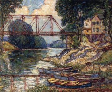 The Red Bridge, New Paltz, New York Artwork by Reynolds Beal