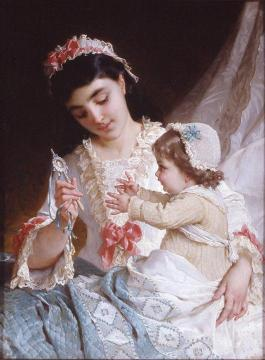 Distracting the Baby Artwork by Emile Munier
