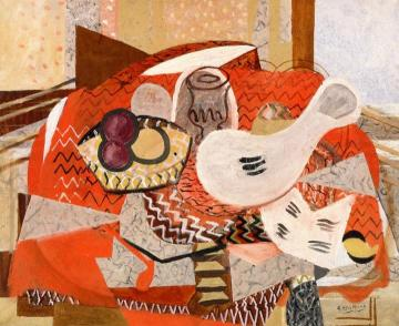 Still Life On Red Tablecloth Artwork by Georges Braque