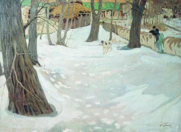 Winter Landscape with House and Dog Artwork by Isaak Brodsky