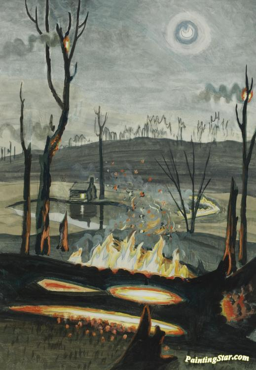 Forest Fire In Moonlight Artwork by Charles Burchfield