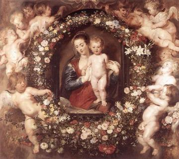 Madonna in Floral Wreath Artwork by Peter Paul Rubens