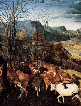 The Return of the Herd [detail] Artwork by Pieter Bruegel the Elder
