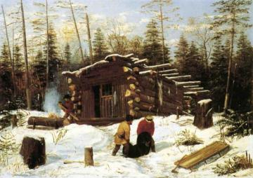 Bringing Home Game: Winter Shanty at Ragged Lake Artwork by Arthur Fitzwilliam Tait