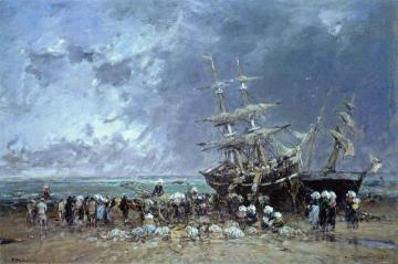 Unloading a Newfoundland Fishing Boat Artwork by Eugène-Louis Boudin