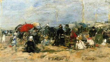 Trouville, Beach Scene Artwork by Eugène-Louis Boudin