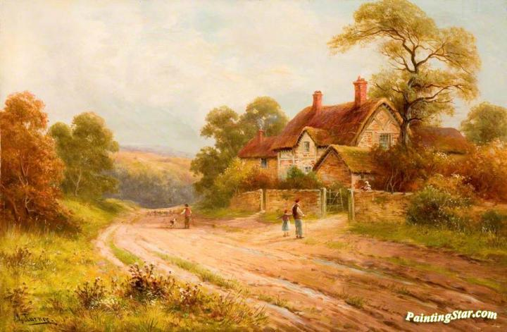Country Lane With Cottage Artwork By George Turner Oil