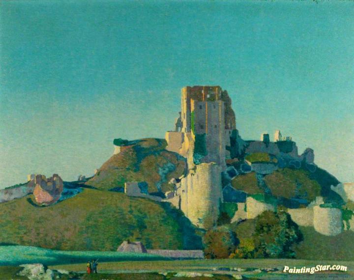 Evening Light Corfe Castle Artwork By Stanley Royle Oil