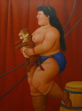 Circus Woman With Baby Tiger Artwork by Fernando Botero