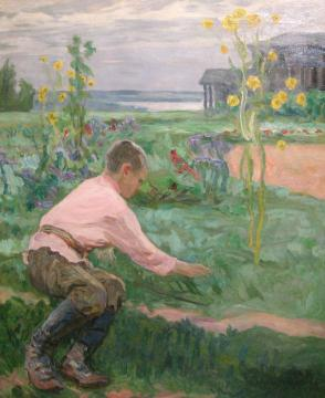 Boy on the Grass Artwork by Nikolai Petrovich Bogdanov-belsky
