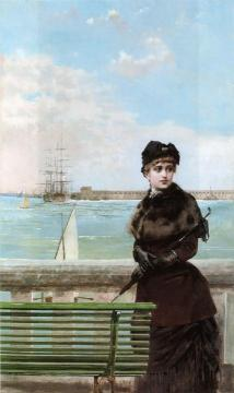 An Elegant Woman at St. Malo Artwork by Vittorio Matteo Corcos