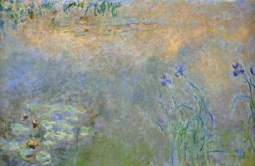 Water-Lily Pond with Irises Artwork by Claude Oscar Monet