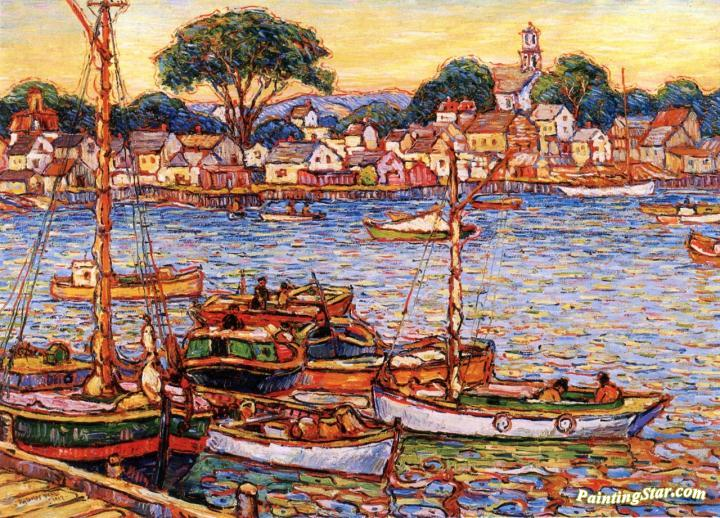 Boat Marina At Provincetown Artwork By Reynolds Beal Oil