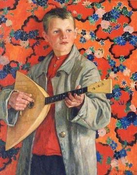 Balalaika Player Artwork by Nikolai Petrovich Bogdanov-belsky