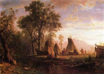 Indian Encampment, Late Afternoon Artwork by Albert Bierstadt