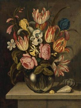 A Still Life Of Tulips, Roses, Irises And Daffodils In A Glass Vase Artwork by Ambrosius Bosschaert