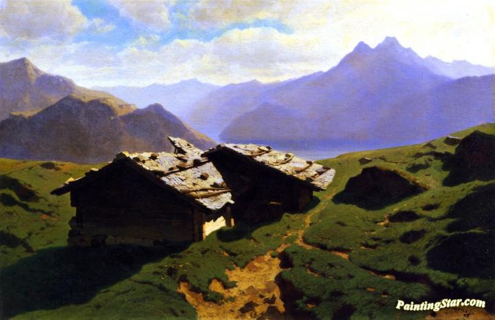 Chalets At Rigi Artwork by Alexandre Calame