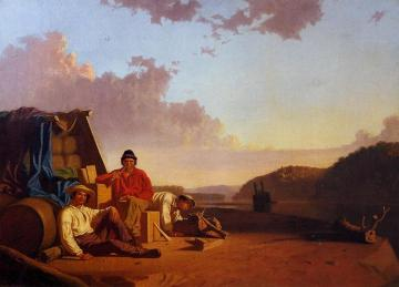 Watching The Cargo Artwork by George Caleb Bingham