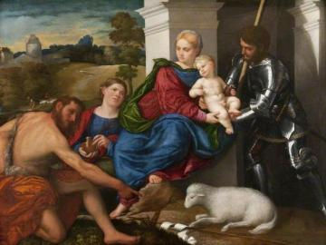 Virgin and Child with Saints John the Baptist, Mary Magdalene and George (?) Artwork by Paris Bordone