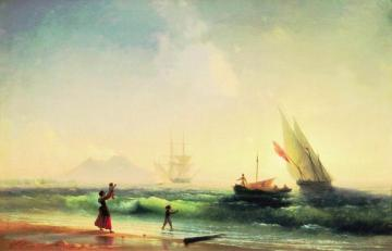 Meeting of a fishermen on coast of the bay of Naples Artwork by Ivan Constantinovich Aivazovsky