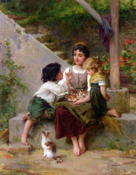 Playing with the Kittens Artwork by Emile Munier