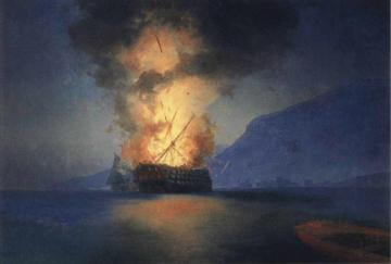 Exploding Ship Artwork by Ivan Constantinovich Aivazovsky