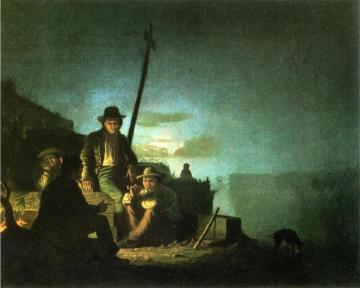 Watching The Cargo At Night Artwork by George Caleb Bingham