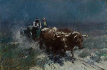 The Oxen Artwork by Harvey T. Dunn