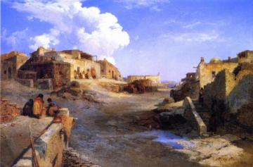 An Indian Pueblo, Laguna, New Mexico Artwork by Thomas Moran