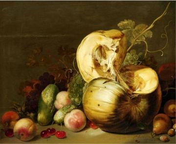 A Still Life with a Pumpkin, peachs, grapes, cherries and other fruits Artwork by Hans Bollongier